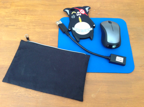 Black zipper bag, display dongle, mousepad, and mouse