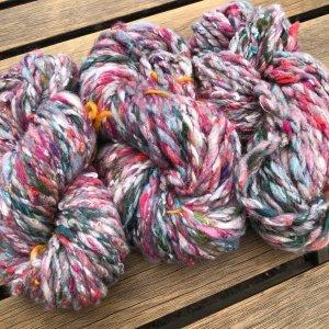 3 skeins of multiple color handspun yarn