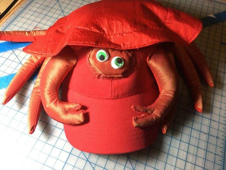 Crab Hat on workbench