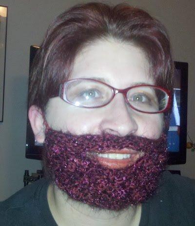 Woman wearing a knitted beard